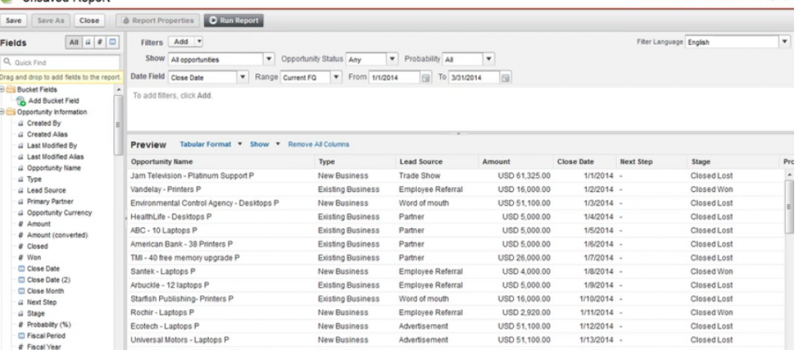 Salesforce Report Builder